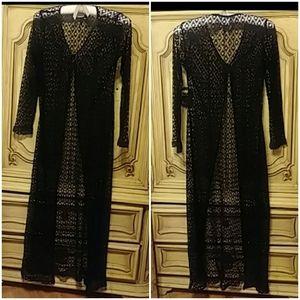 Net Mesh Knit Robe Jacket Cover up Full Length
